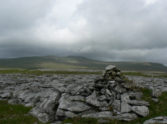 The summit of Thwaite Scars looking to Ingleborough