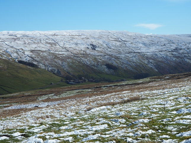 A snow covered Horse Head Moor above Halton Gill in Littondale
