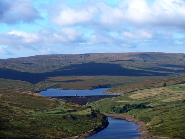 Great Whernside above the two reservoirs at the head of Nidderdale