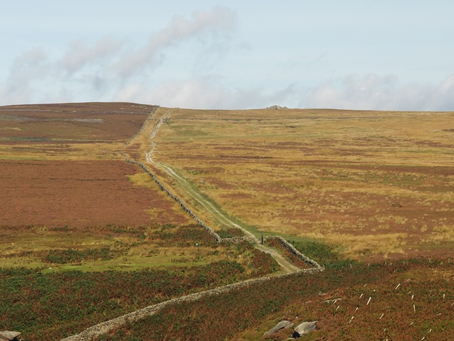 The track from Hoodstorth Lane, the Little Pock Stones can be seen on the skyline to the right