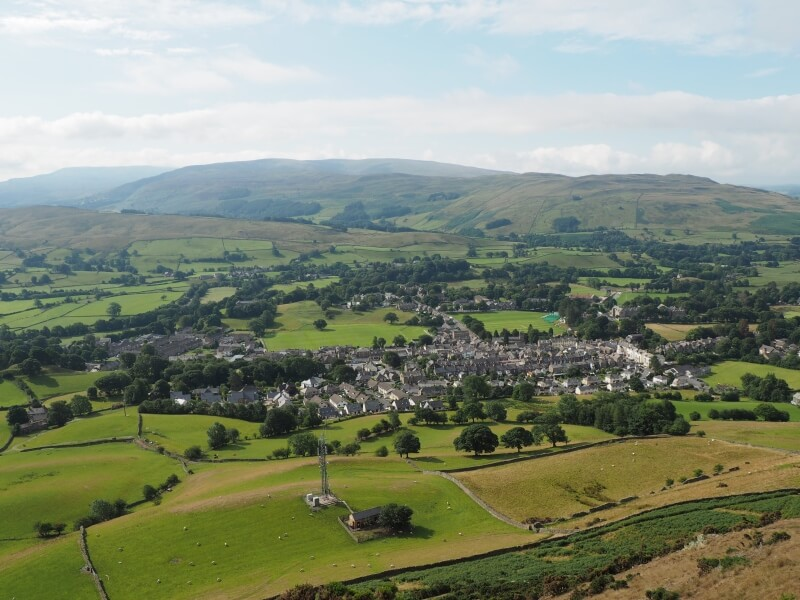 Looking back down to Sedbergh from the direct route on to Winder