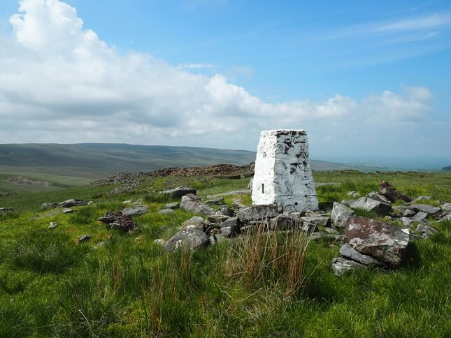 The Grey Grit trig point on the top of High Greygrits