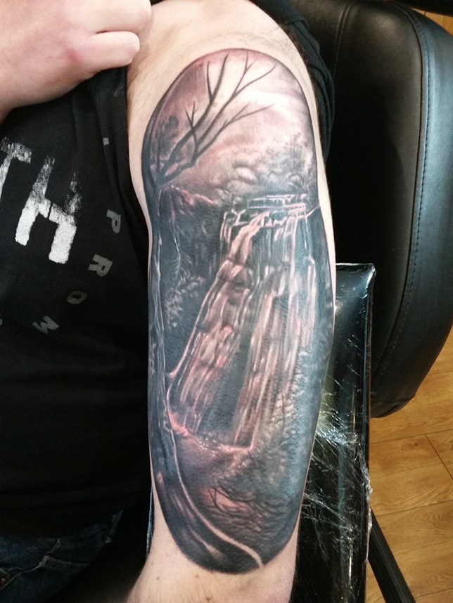 This tattoo, completed December, is a reproduction of a photo of Aysgill Force that I took in 2015.