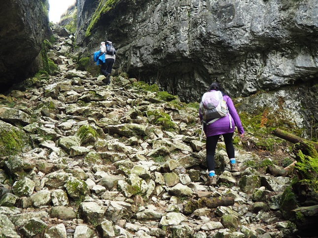 Scrambling up the dry waterfall at the head of Trow Gill