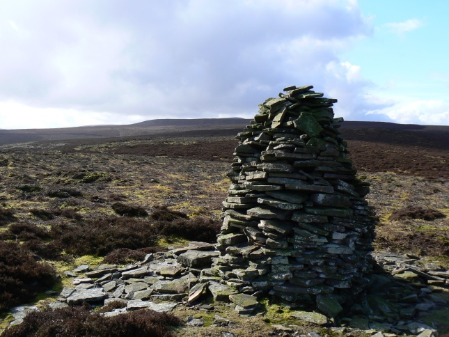 The cairn on Wasset Fell looking towards Naughtberry Hill