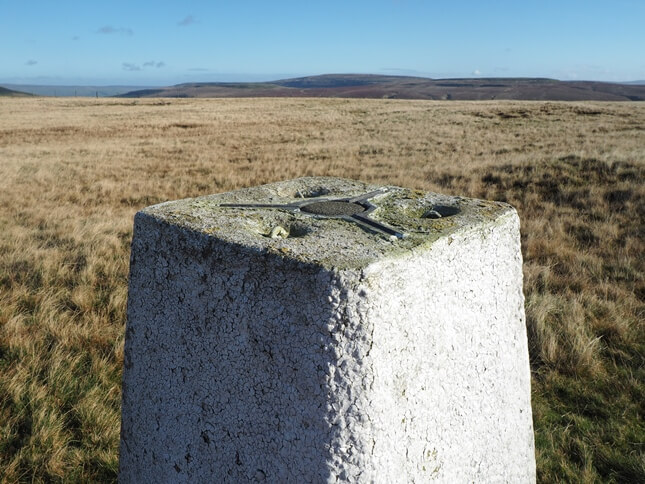 The intact spider on the top of the trig point with Dodd Fell Hill in the distance