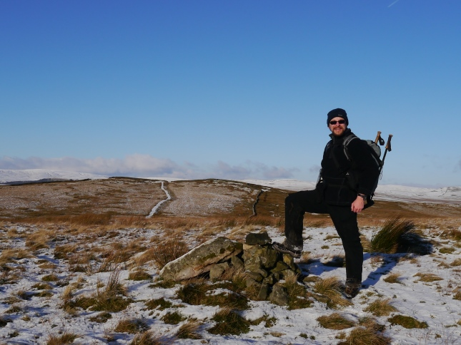 By the cairn on Hetton Common Head with Weets Top immediately beyond
