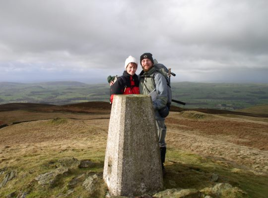 My wife and I by the Brownthwaite trig point in 2007