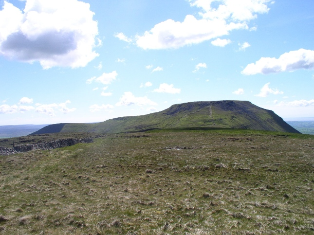 The rather bland summit of Simon Fell is dominated by Ingleborough