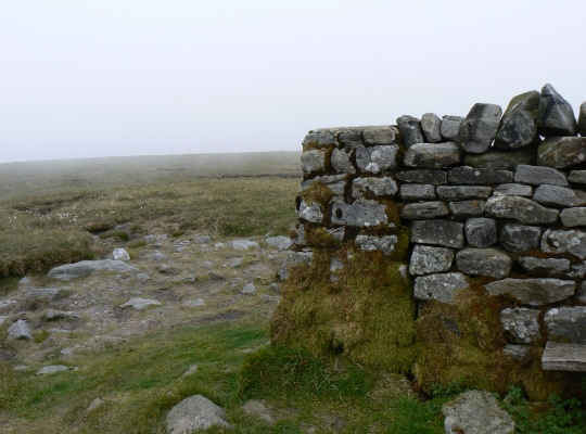 The trig point on Great Shunner Fell is built into the shelter