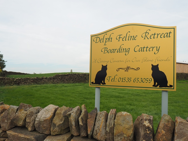 The trig point can be seen just to the left of the 'Delph Feline Retreat Boarding Cattery' sign