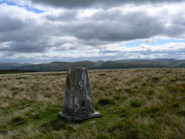 The trig point looking towards the Howgill Fells