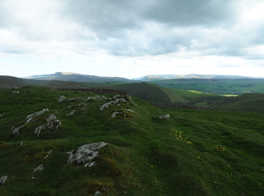 The summit of Birkett Hill looking towards Wild Boar Fell and the Howgill Fells