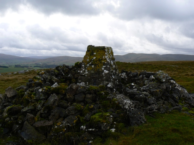 The trig point on Nettle Hill looking towards the Howgill Fells
