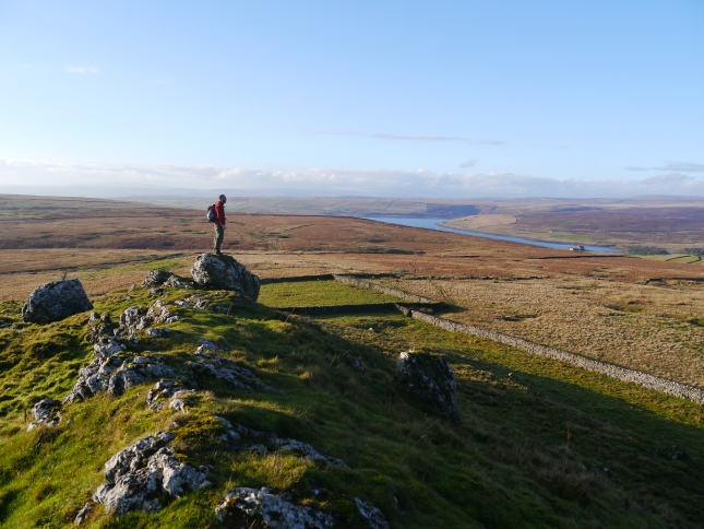 Enjoying the view of Grimwith Reservoir from Nursery Knot