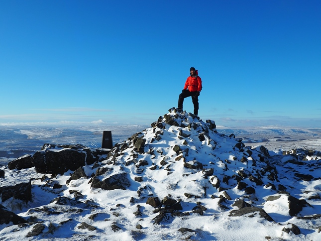 On the summit of Great Whernside in winter