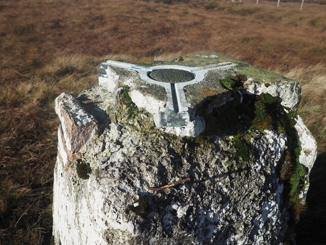 The damaged top of the Yockenthwaite Moor trig point