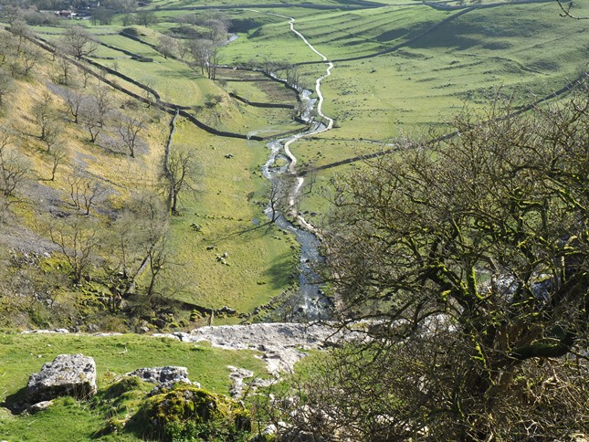 Peering over the edge of Malham Cove
