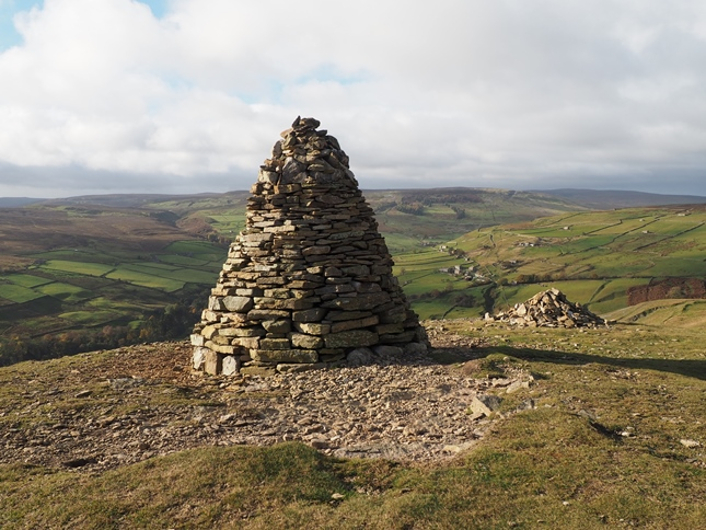 The superb cairn on Fell End overlooking Booze