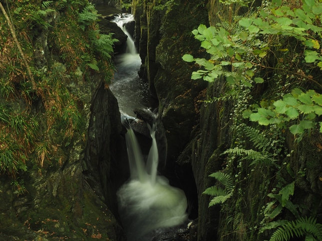 The view down into Baxenghyll Gorge from the bridge
