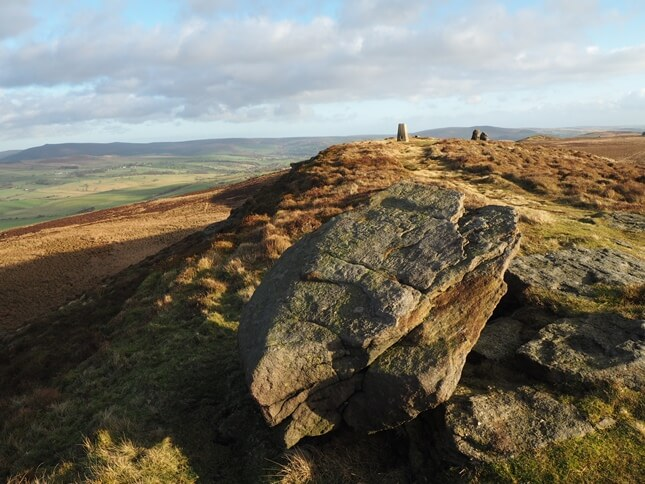 The rock in the foreground is the highest point on Skipton Moor