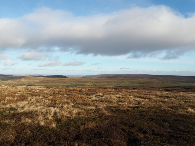 Looking east from Oxnop Common, Tarn Seat can only be identified by the sliver of Summer Lodge Tarn