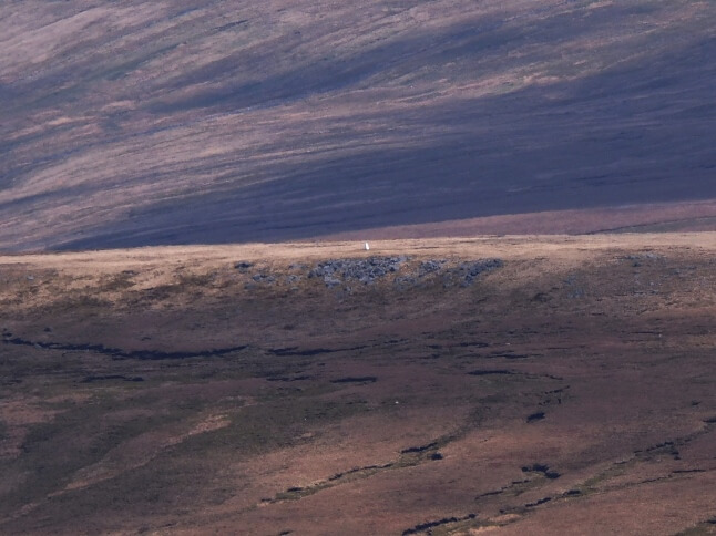 The Blea Moor trig point as seen from Whernside