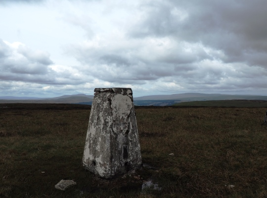 The trig point on the summit of Yockenthwaite Moor