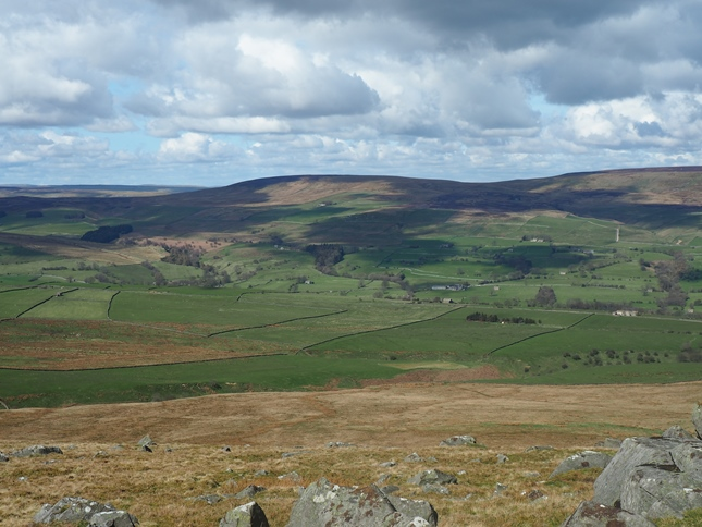 Harland Hill from Great Roova Crag on the other side of Coverdale