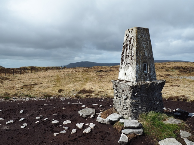 The trig point on the summit of Darnbrook Fell