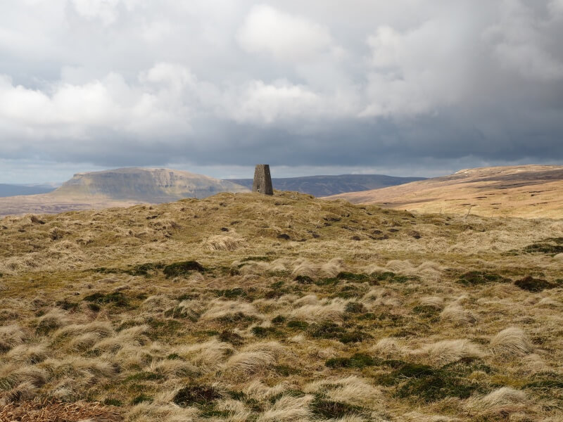 Pen-y-ghent, Plover Hill and Fountains Fell from the Knowe Fell trig point
