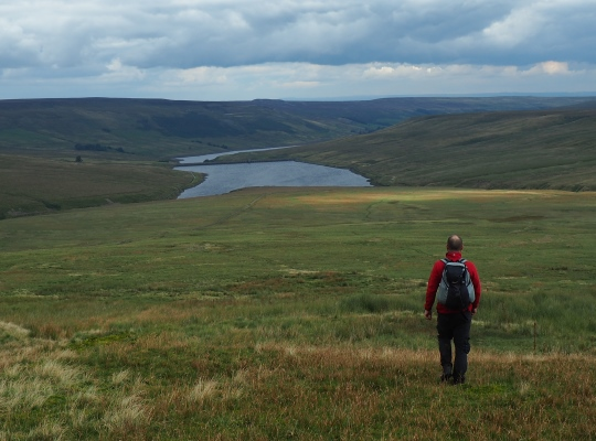 The pathless descent to Angram Reservoir from Great Whernside