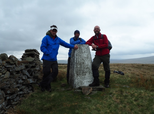 By the Aye Gill Pike trig point with Wally and Jason in May 2015