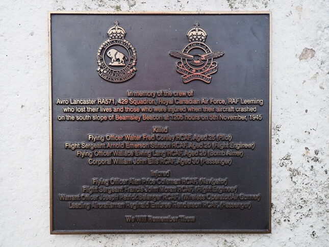 The memorial plaque to the crew of a Royal Canadian Air Force bomber who crashed on the hill in 1945