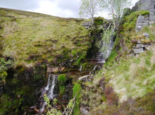 The waterfall at Blakethwaite Dams