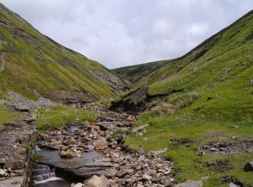 The view up Gunnerside Gill towards Blakethwaite Force
