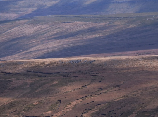 This picture of the Blea Moor trig point was taken with my telephoto lens on Whernside