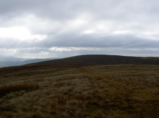 Looking back towards Blease Fell from the faint path leading to Hare Shaw