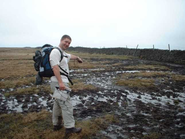 My friend Matt 'enjoying' the bogs on our first visit to Buckden Pike in 2004