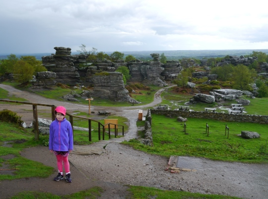 Rhiannon and an unusually deserted Brimham Rocks