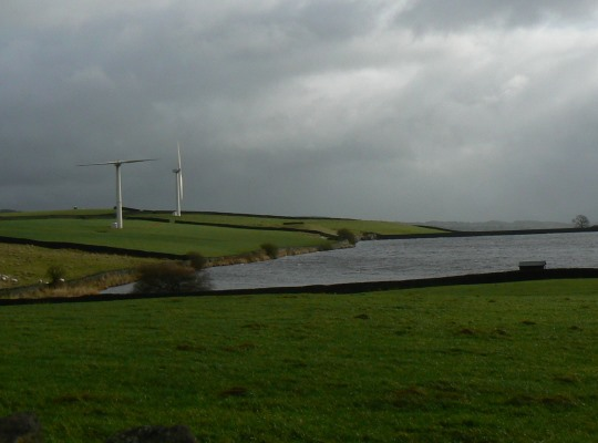 Chelker Reservoir and two of the turbines of the now defunct Chelker Wind Farm