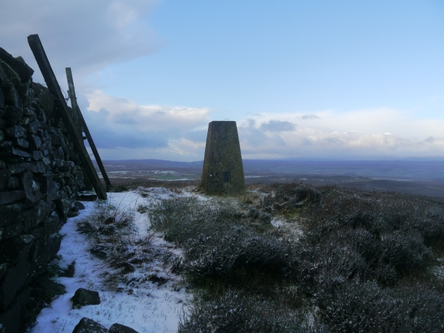 The trig point is situated on the northern side of the wall crossing Citron Seat