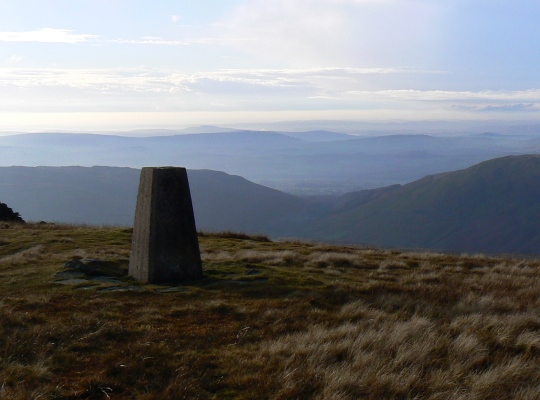 The Crag Hill trig point looking out towards the Irish Sea