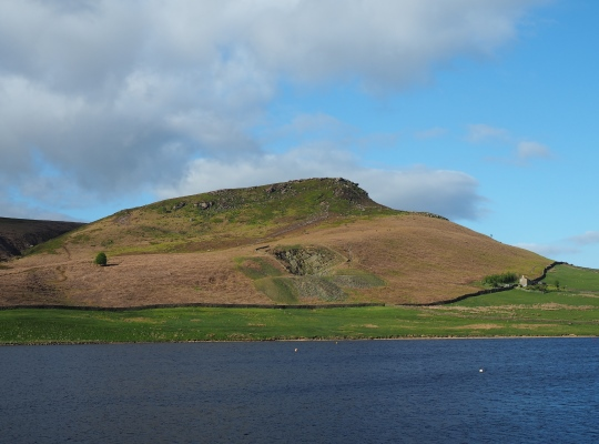 Embsay Reservoir is dominated by nearby Embsay Crag