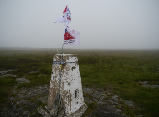The Firth Fell trig point was erroneously flagged as the summit of Birks Fell on the inaugural Wharfefale Three Peaks Challenge