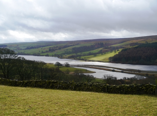 Looking down on Gouthwaite Reservoir from the track above Bouthwaite