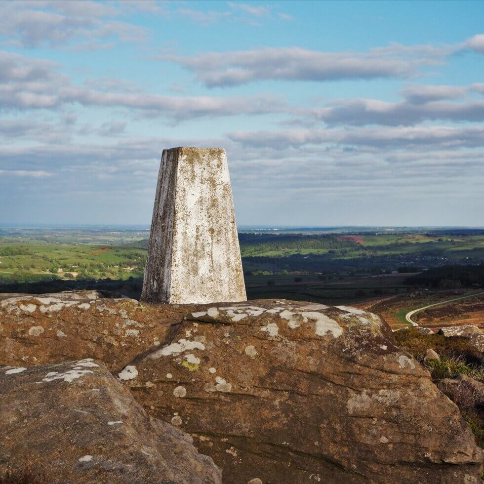 The trig point on Heyshaw Moor