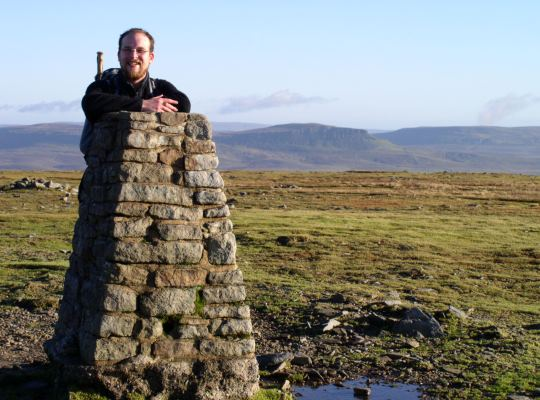By the trig point in 2006 with Pen-y-ghent behind me