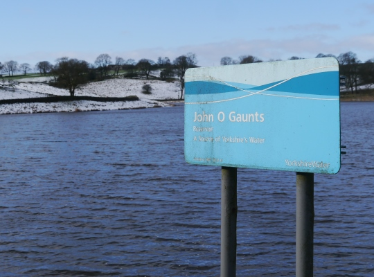 The Yorkshire Water sign confirming the name of John O Gaunts Reservoir