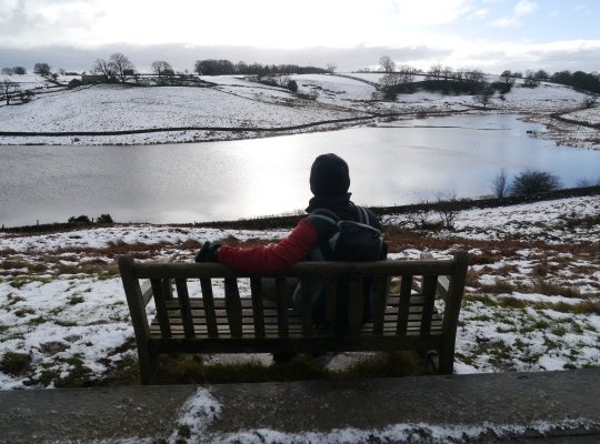 Enjoying the view John O Gaunts Reservoir from one of the commemorative benches